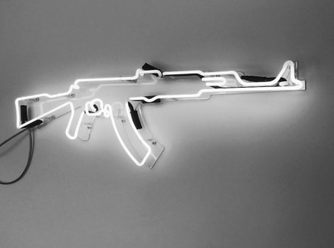 Neon AK47 from One Less Gun by McCrow at Hg Contemporary art gallery in Chelsea, Founded by Philippe Hoerle-Guggenheim