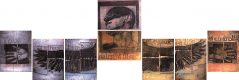 Roger Pfund, Droits de l'Homme, 2006, pigments, colle, impression, taille-douce, aquatinte, encrage creux et surfaces sur papier, signé « RPfund 06 », 180 x 700 cm (8 pièces de 110 x 80 cm)
