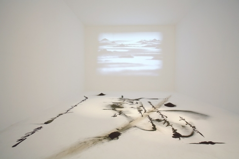 KIM Jong-Ku, Mobile Landscape, 2007, iron powder, roll paper, CCTV camera, LCD projector, variable installation