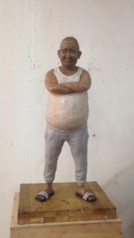 Untitled (Fat Man), 2018, wax, wire, acrylic paint, polyurethane epoxy and wood, 58 x 18 x 15 cm