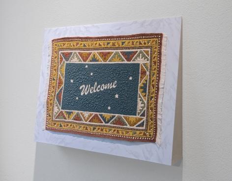 Vincent Kriste, Doormat, 2018, acrylic on cotton, 62 x 80 x 12 cm