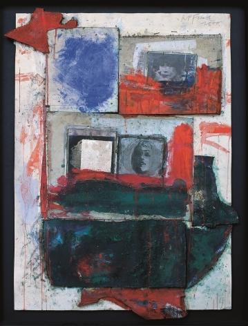 """Roger Pfund, Portraits multiples, 2000, pigments, colle, photocopie, carton, découpage et collage sur carton, signé """"RPfund 2000"""", 123 x 95 cm"""