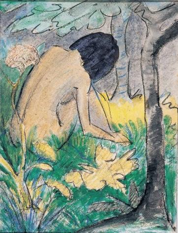 Otto Mueller (1874–1930), Kauerndes Mädchen im Walde, 1920–1922, watercolour and chalk on paper, 66 x 52.5 cm / 25.98 x 20.47 in.