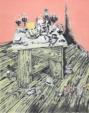 YOO Geun-Taek, The Life on the Corner, 2010, black ink and powder of white on Korean paper, 132 x 103 cm / 51.96 x 40.55 in.