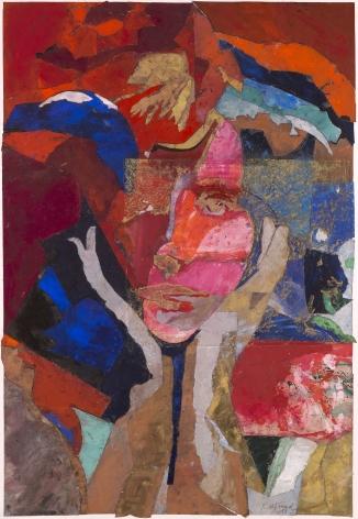"""Roger Pfund, Collette, 2013, pigments, colle, découpage, collage, impression aquatinte, encrage creux et surfaces, découpages, collage et gaufrage spapier, signé """"RPfund 13"""", 139,5 x 95,5 cm"""