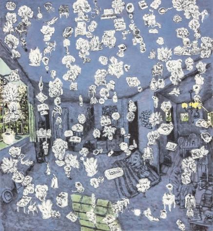 YOO Geun-Taek, The room, 2011, black ink and powder of white on Korean paper, 149 x 138 cm / 58.66 x 54.33 in.