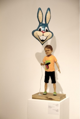 Untitled (Boy with Balloon), 2016, wax, wire, acrylic paint, polyurethane epoxy and wood, 125 x 50 x 30 cm