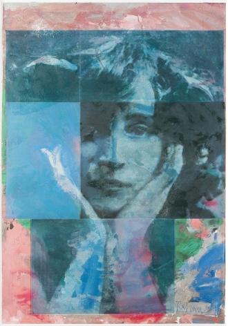 Roger Pfund, Colette, 2010, pigments, colle, impression, taille-douce, aquatinte, encrage creux et surfaces sur papier, signé « RPfund 10 », 140 x 95 cm