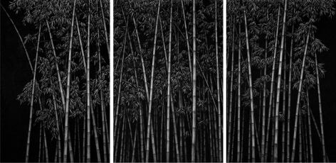 LEE Jaesam, Beyond There (triptych), 2008, charcoal on canvas, 194 x 130 cm / 76.38 x 51.18 in.