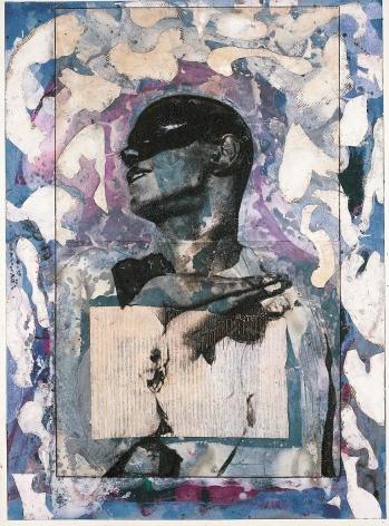 """Roger Pfund, Nijinki, 2004-2005, pigments, colle, carton, impression, taille-douce, aquatinte, encrage creux et surfaces, collage sur papier, signé """"RPfund 04-05"""", 110 x 80 cm"""