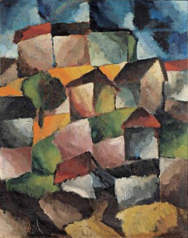 Arthur Segal (1875–1944), Bergdorf, 1916, oil on canvas, 88 x 70 cm / 34.65 x 27.56 in.