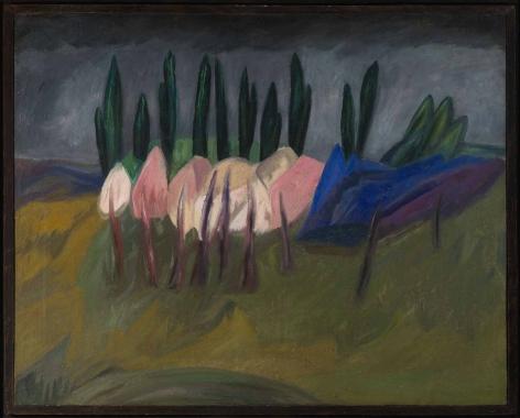 Wladimir Burljuk (1886–1917), Landschaft Blühende Bäume im Frühling, 1911, oil on canvas, 73.2 x 92.5 cm / 28.74 x 36.22 in.