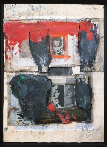 """Roger Pfund, Portraits multiples, 2000, pigments, colle, photocopie, carton, découpage et collage sur carton, signé """"RPfund 2000"""", 111 x 79 cm"""