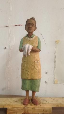 Untitled (Old Lady), 2018, wax, wire, acrylic paint, polyurethane epoxy and wood, 17 x 11 x 12 cm