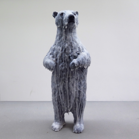 Polar Bear, 2017, wax, wire, acrylic paint, polyurethane and epoxy, 65 x 24 x 23 cm