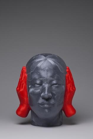 JUNE LEE, Witness, 2013 Thread on plastic cast 33 x 27.9 x 25.4 cm