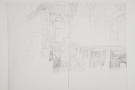Synagogue Ghost I (diptych), 2015, pencil on paper, 200 x 300 cm