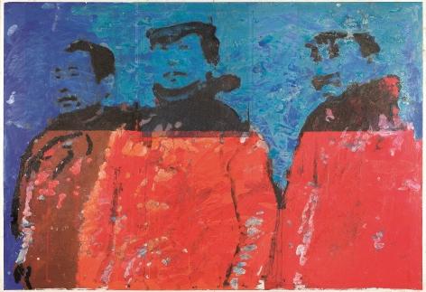 """Roger Pfund, Histoire chinoise, 2008, pigments, colle, impression, taille-douce, aquatinte, encrage,creux et surfaces sur papier, signé """"RPfund 08"""", 140 x 193,5 cm"""