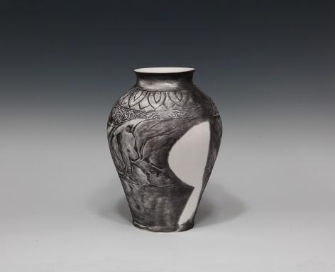 JU SEKYUN, Tracing Drawing 93, 2013 Pencil drawing on ceramics (varnish coating) 35 x 35 x 47 cm