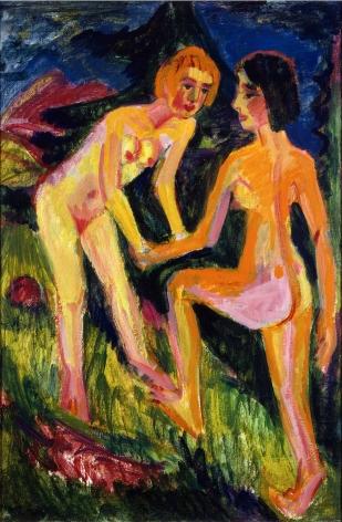 Ernst Ludwig Kirchner (1880–1938), Zwei nackte Mädchen am Berg, 1921, oil on canvas, 122 x 81 cm / 48,03 x 31,89 in.