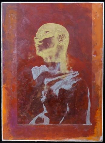 """Roger Pfund, Nijinki, 2014, pigments, colle, carton, impression, taille-douce, aquatinte, encrage creux et surfaces, collage sur papier, signé """"RPfund 14"""", 110 x 80 cm"""