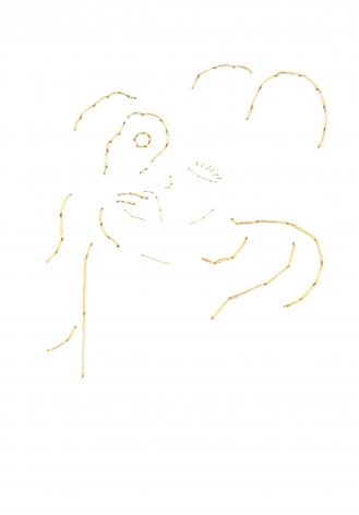 Ant Pearce, kate #2 #3, 2014, gold thread sewn on 200 gms paper, 23 x 31.7cm (framed)