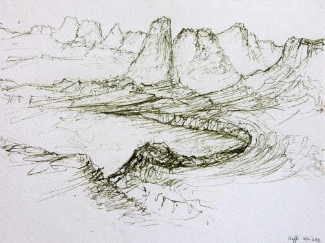 Raffi Kaiser, Paysage,1995, Green ink on paper, 23 x 31 cm