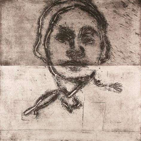 Roger Pfund, Anonyme, 2008, Impression aquatinte, encrage creux et surfaces sur papier, signé « RPfund 08 », 138 x 138 cm