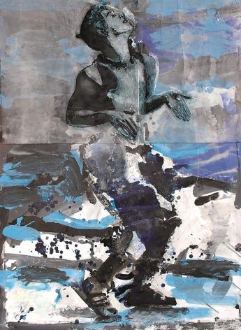 """Roger Pfund, Nijinski dancer, 2005, fusain, pastel, acrylique, pigments, colle, impression, taille-douce, aquatinte, encrage creux et surfaces sur papier, signé """"RPfund 05"""", 140 x 104 cm"""