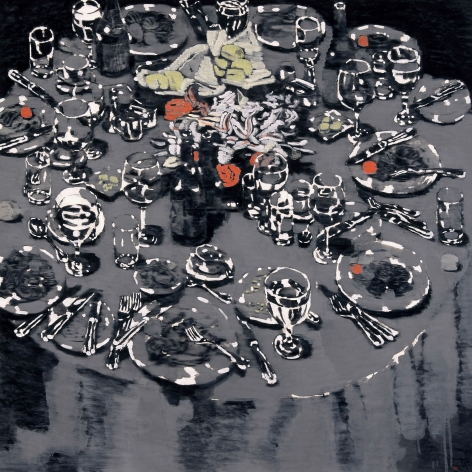 YOO Geun-Taek, Some dinner, 2007, black-ink and powder of white on Korean paper, 135x135cm