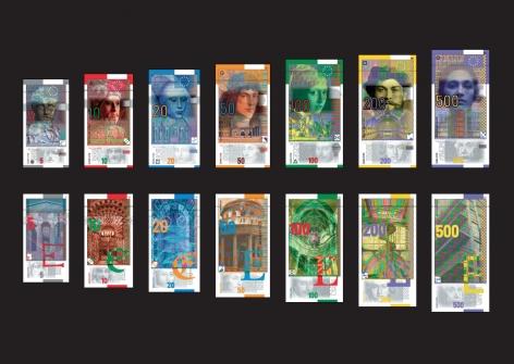 Roger Pfund, Giganto série « Epoques et Styles », 2018, impression en subligraphie® sur plaque d'aluminium protégée par une technologie phygitale, Institut Monétaire Européen, Paris, 1996, 1er prix du concours, éd.de 14, 80 x 120 cm