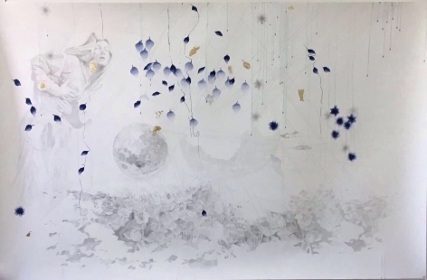 Ima, 2017, pencil, pen and 18 carat gold leaves on paper, 130 x 200 cm