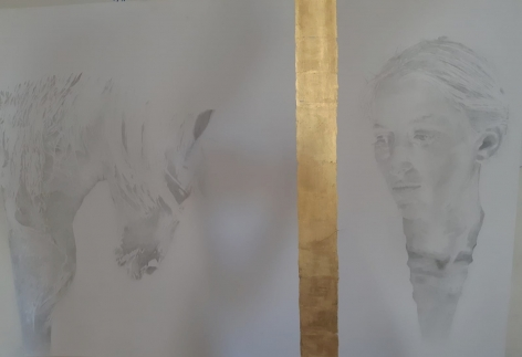 I accept, 2018, pencil and 18 carat gold leaves on paper, 70 x 100 cm