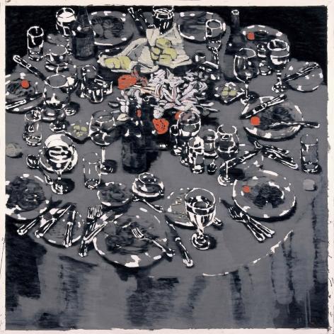 YOO Geun-Taek, Some dinner, 2007, black ink and powder of white on Korean paper, 135 x 135 cm / 53.15 x 53.15 in.