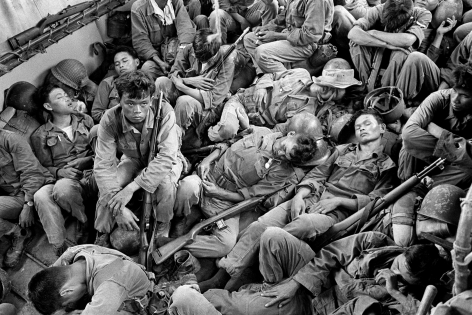 Horst Faas, Exhausted South Vietnamese Soldiers Sleep on a U.S. Navy Troop Carrier