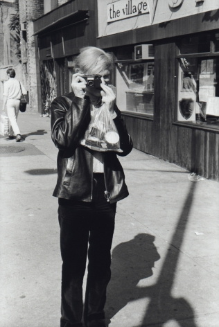 Fred W. McDarrah- Andy Warhol Taking a Photo in Front of Village Voice Office