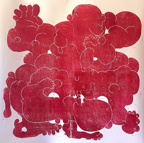 BARBARA KUEBEL, Touching two places/ colour magenta red, 2021