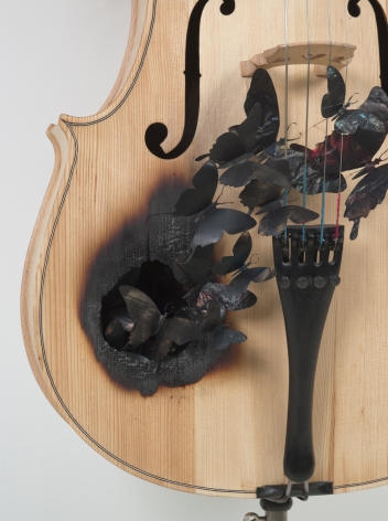 PAUL VILLINSKIFable[detail], 2010found cello andaluminum cans, soot, wire96 x 65 x 16 inches