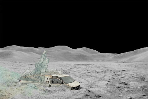 BRIAN ST. CYR  Van on the Moon, 2020  digital collage on archival photo paper  24h x 36w in