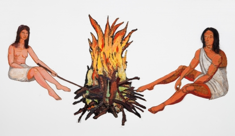 GINA PHILLIPS Adam and Eve [figures and fire], 2010