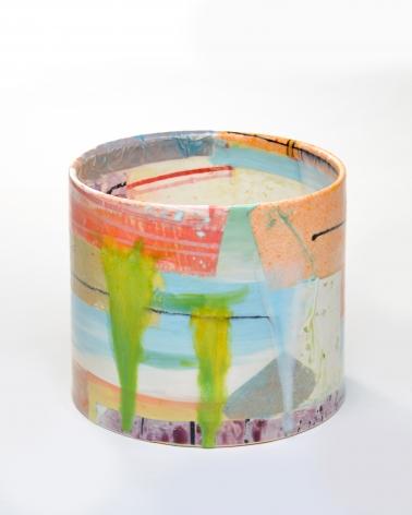 LAUREN MABRY  Cylinder 20.11, 2020  earthenware, slip, glaze  7.75h x 9w x 9d in