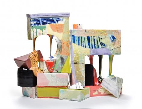 LAUREN MABRY  Glaze Flow Blocks (20.03), 2020  earthenware, slip, glaze  15h x 19.50w x 9d in