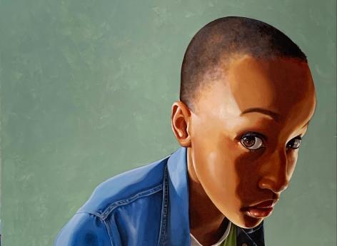 ADRIENNE BROWN-DAVID  Bijou in Denim, 2020  oil on canvas  30h x 24w in