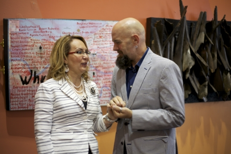 Gabby Giffords and Jonathan Ferrara at the opening of Guns In The Hands of Artists at Pillsbury House Theater in Minneapolis, May 3, 2016.