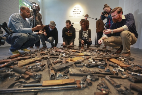 6 April2014 ||| Press Conference ||| artists selecting their guns for 'Guns in the Hands of Artists'