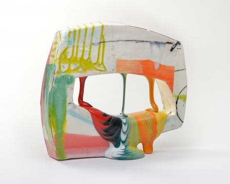 LAUREN MABRY  Glazescape (20.01), 2020  earthenware, slip, glaze  8.50h x 10w x 4d in