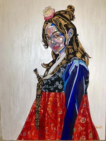 REWA  Bukchon Hanok Village, 2020  acrylic and ink on canvas  48h x 36w in