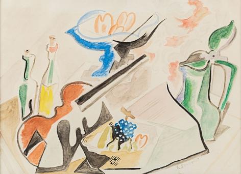 Gino Severini Studio per natura morta con violinoI,1946