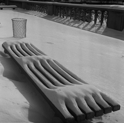 Snow on Bench, 1941, gelatin silver print