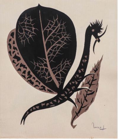 Feuille et mante religieuse, c. 1950